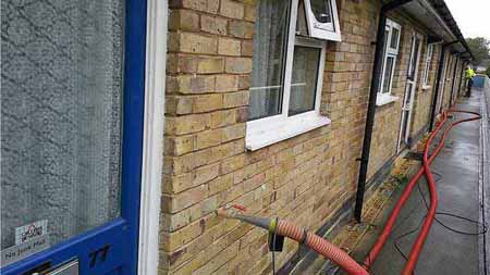 Cavity wall insulation injection process