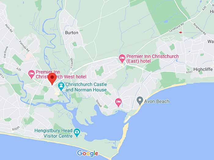 google map of christchurch