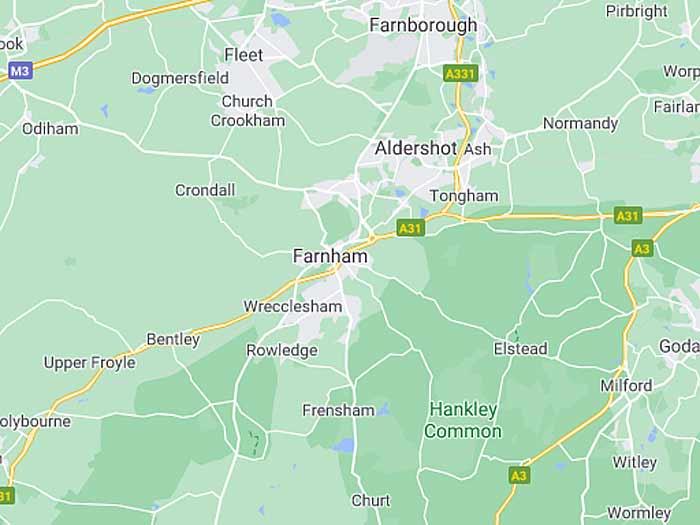 google map of farnham