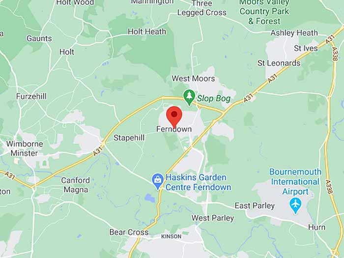 google map of ferndown