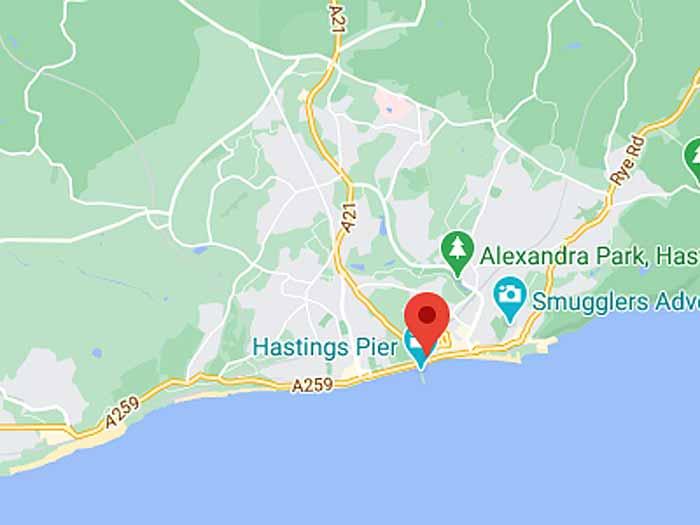 google map of hastings