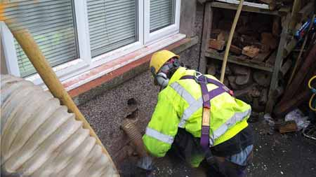 Cavity wall extraction process