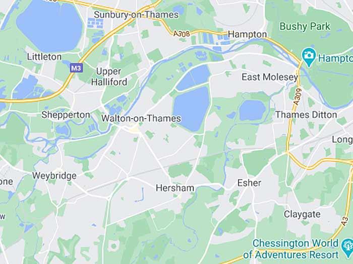 google map of walton-on-thames