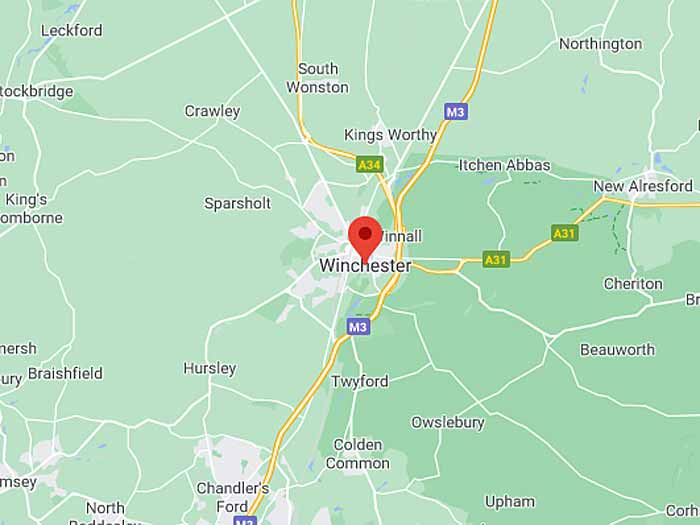 google map of winchester